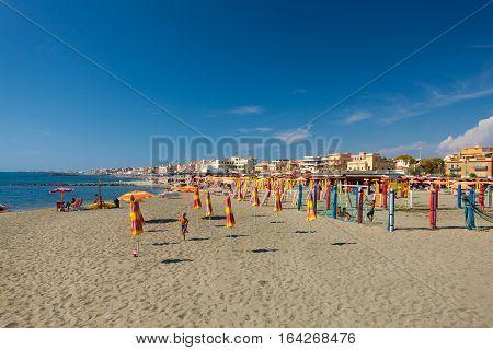 Lido di Ostia ITALY - September 14 2016: Boy is playing with ball on the beautiful beach Lido di Ostia ( Lido di Roma) Italy.