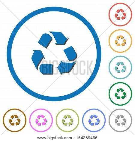 Recycling symbol flat color vector icons with shadows in round outlines on white background
