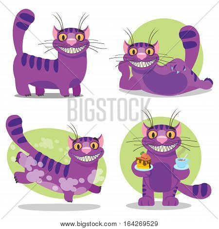 Cheshire Cat. Illustration to the fairy tale Alice's Adventures in Wonderland. Purple cat with a big smile.