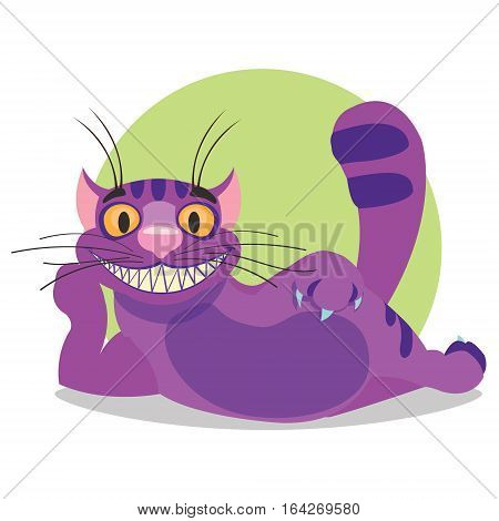 Cheshire Cat. Illustration to the fairy tale Alice's Adventures in Wonderland. Purple cat with a big smile lays.
