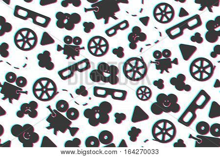 Seamless pattern of flat movie design elements and cinema icons. Vector illustration. Background.