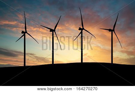 Silhouette of a wind power station. Industrial and technological concept