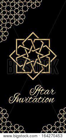 Invitation card with moroccan ornament, Ramadan Kareem Iftar party celebration.