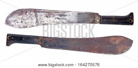 old rusty machete isolated over white background