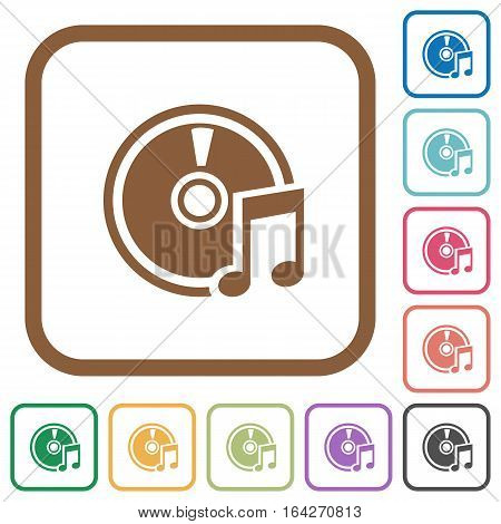 Audio CD simple icons in color rounded square frames on white background