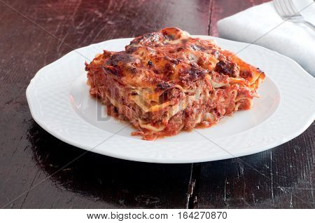 delicious lasagne with meat ragu and bechamel