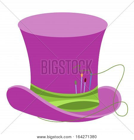 Purple wizard's hat with green ribbon and sewing needles. The old man's headdress. Cylinder gentleman. Hat shop.