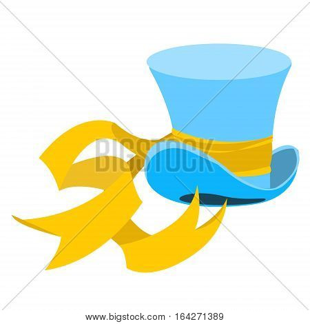 Blue wizard hat with a long yellow ribbon. The old man's headdress. Cylinder gentleman. Hat shop.