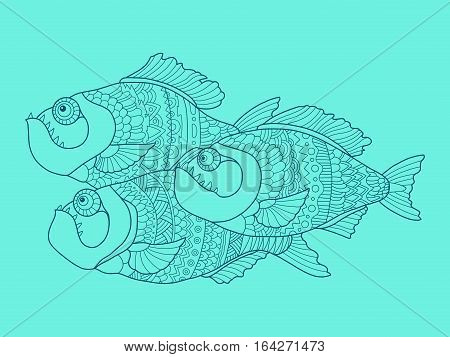 Piranha fish color drawing vector illustration. Tattoo stencil. Lace pattern