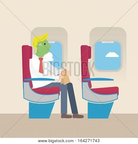 Businessman with green face frightened by flight. Aerophobia concept. Panic in the plane. Fear of flying.