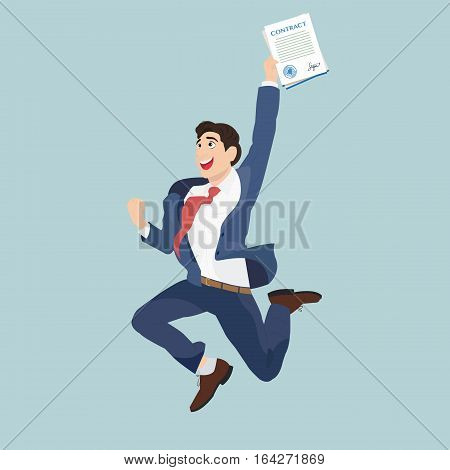 Happy businessman with a signed contract. An employee in a suit jumping because he is happy.