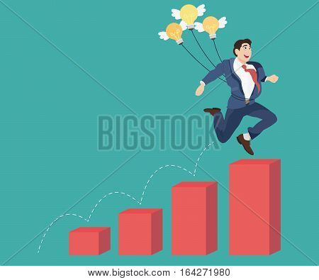 Businessman with idea bulbs jump over red bar charts. Idea and Growth concept.