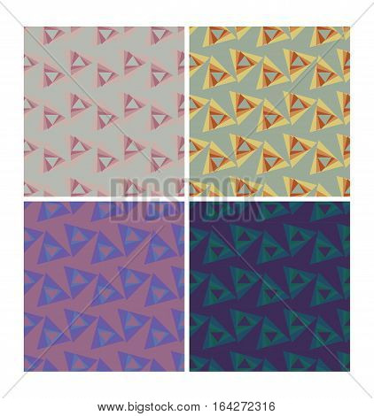 Triangle patterns in retro nostalgic colors. Set of seamless patterns in 70s or 80s style vector eps10 tile