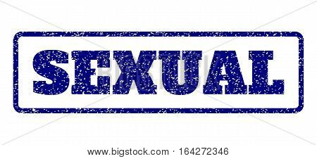 Navy Blue rubber seal stamp with Sexual text. Vector message inside rounded rectangular banner. Grunge design and unclean texture for watermark labels. Horisontal emblem on a white background.