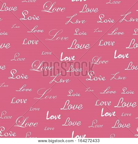 Seamless with the  Word Love Wrote in Different Styles on the Pink Background