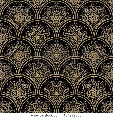High Contrasting Seamless Background Tile With Filigree Golden Ornament On Black Canvas. Vintage Fab