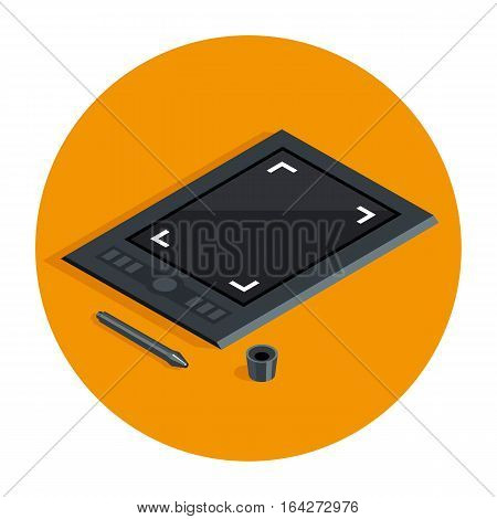 Graphic tablet in flat style vector icon, creative technology tool for easy design work, pen and tablet signs set in circle on orange background, isometric black tablet icon