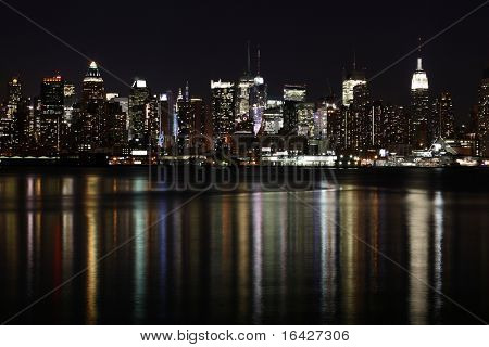 Midtown (West Side) Manhattan at night seen from Weehawken, NJ.