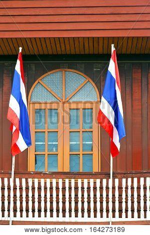 Temple     Bangkok Thailand Incision   Terrace Waving Flag