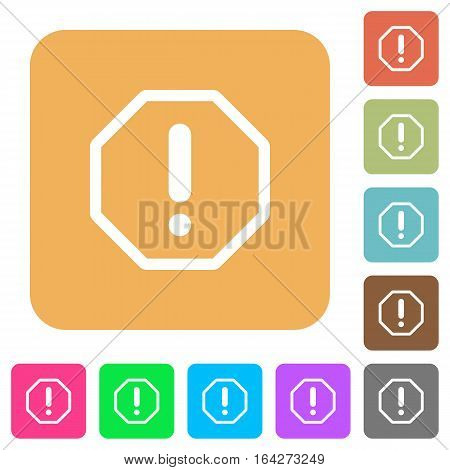 Error sign flat icons on rounded square vivid color backgrounds.
