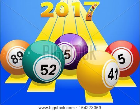 Bingo Balls Over Yellow Stripes with 2017 in Numbers on Blue Background