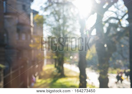 Blurred Image Of People Walking On The Road With Nature Background