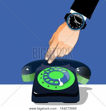 Hand holding an old  black telephone.Vector illustration