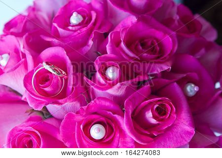 Gold wedding rings on petals of roses. Wedding rings on petals of purple roses. Wedding rings on a purple background.