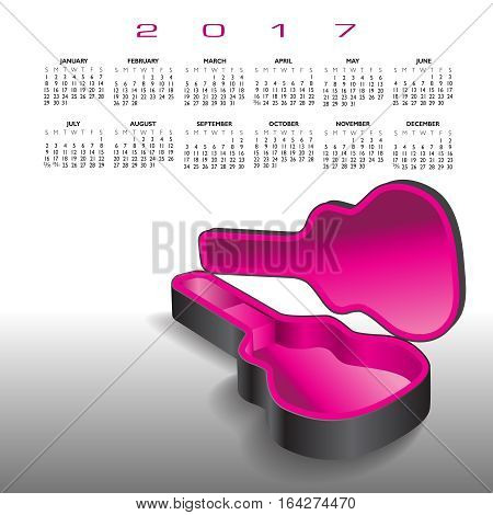 A 2017 calendar with an empty guitar case in black and magenta