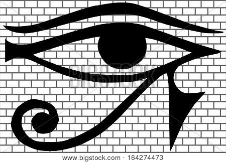 All-seeing eye (New World Order)  on background of bricks, vector