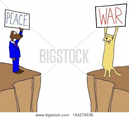 Color illustration of a dog and cat on opposite cliffs with signs 'peace' and 'war'.