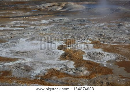 Geothermal Area in Namafjall Hverir. Iceland. Europe