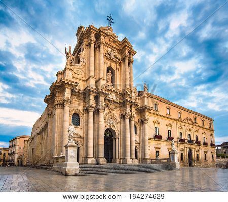 The Cathedral of Syracuse an UNESCO World Heritage Site in Italy