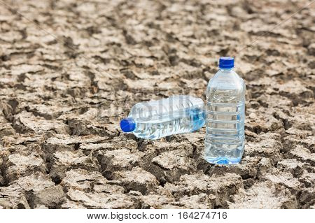bottle with water on the dried ground. Global drought, warming. Dried soil.