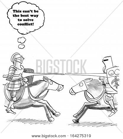 Business cartoon showing two businessmen jousting as one thinks there should be a better way to solve conflict.