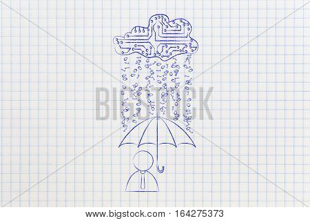 User With Umbrella Under Binary Code Rain, Data Breach Protection