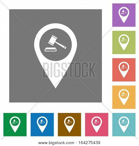 Court house GPS map location flat icons on simple color square backgrounds