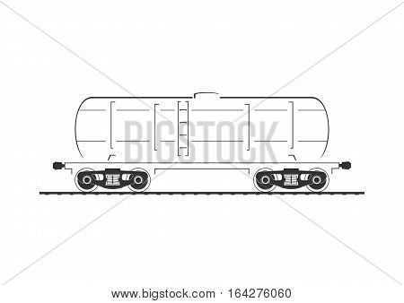 Tank car. Isolated on white. Vector illustration.