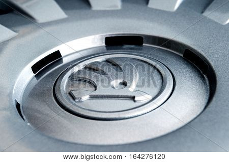 PARIS FRANCE - DEC 18 2016: Detail of modern hubcap hub covers for the winter tyres made by Skoda Auto for Skoda Superb Skoda OCtavia and Skoda Roomster - online internet shopping