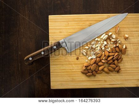 Chopping Almonds, From Above