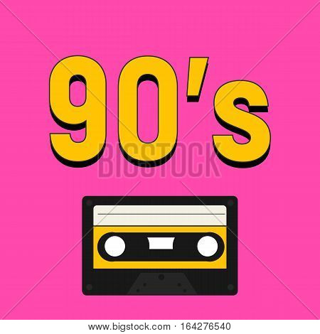 90'S style with yellow numbers and cassette tape recorder