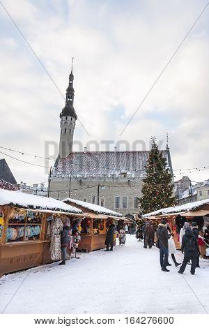 Snowy christmas market in the old town of Tallinn Estonia on January 06 2017