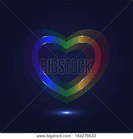 Colorful heart shaped lines abstract background - vector design
