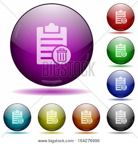 Delete note icons in color glass sphere buttons with shadows