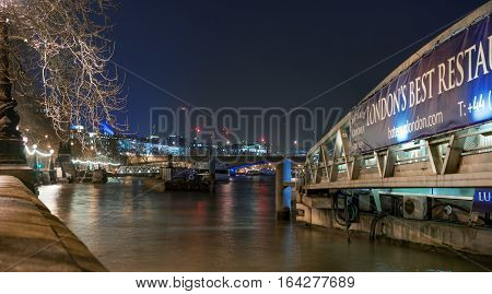 London, UK. 5th January 2016. Embankment Pier by the River Thames provides boat and restaurant cruise services along the River.
