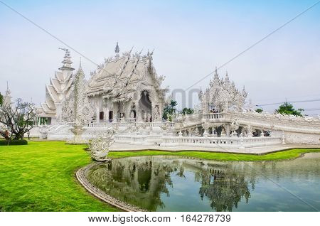 The Buddhist Wat Rong Khun or white temple in Chiang Rai northern Thailand.