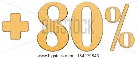 Percent Benefits, Plus 80 Eighty Percent, Numerals Isolated On White Background