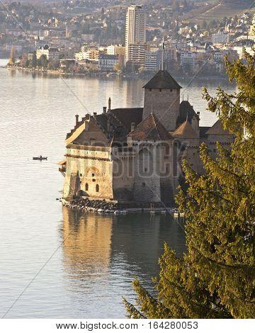 Chillon castle on the edge of Lac_Leman. Close to Montreux, Switzerland.