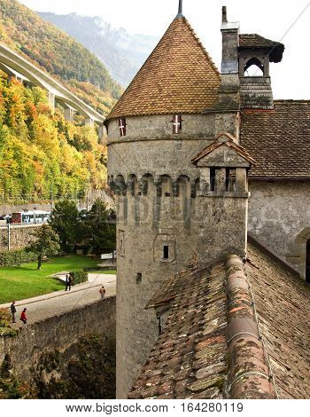 Ramparts of the castle Chillon. On Lac Leman near Montreux, Switzerland.