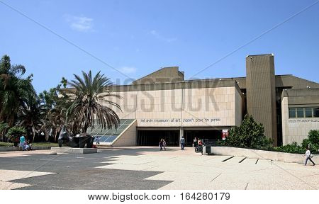 TEL AVIV ISRAEL - APRIL 27 2016: Vasja Pupkin visited the building of the Museum of Art in Tel Aviv during the portrait exhibition